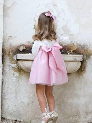 Vestido niña ceremonia rosa brillante con tul | Aiana Larocca