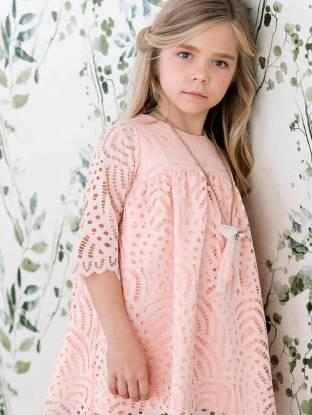 Vestido niña perforado color melocotón de Rochy | Aiana Larocca