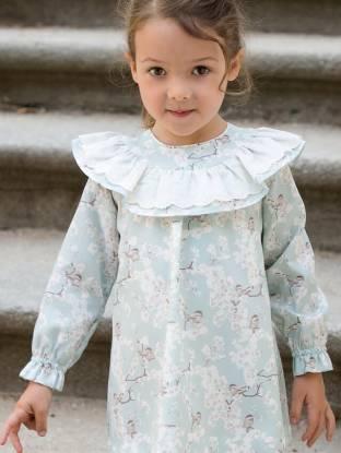 Vestido niña bebe pajarito verde agua de Rochy | Aiana Larocca