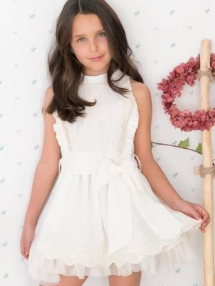 Vestido niña puntas bordadas con tul de Nekenia | Aiana Larocca