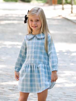 Vestido niña camisero cuadros verdes de Ancar | Aiana Larocca