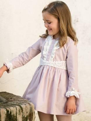 Vestido niña vuelo topitos rosa de Nekenia | Aiana Larocca