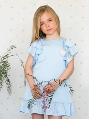 Vestido niña azul volantes de Foque | Aiana Larocca