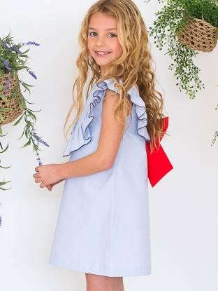 Vestido azul a rayas finas escote y lazada espalda   Aiana Larocca