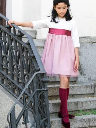 Vestido ceremonia con tul y lazada | Aiana Larocca