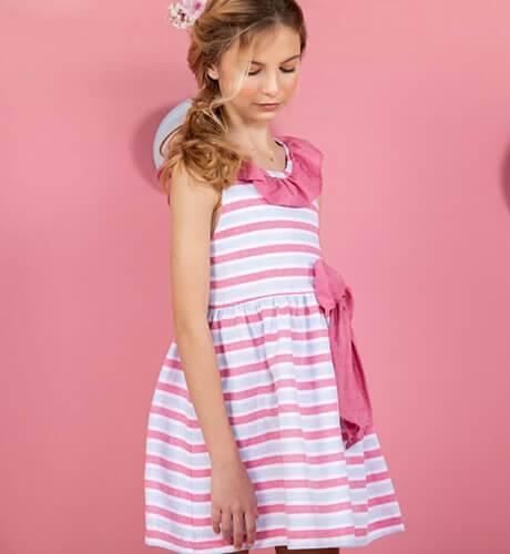 Vestido niña a rayas tirantes volantes cruzados de Yoedu | Aiana Larocca