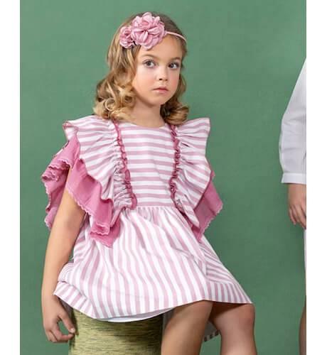 Vestido niña a rayas rosa con volantes laterales de Marta y Paula | Aiana Larocca