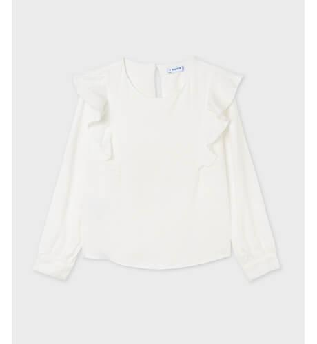 Blusa volantes color crudo de Mayoral | Aiana Larocca