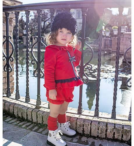 Conjunto niña sudadera y pololo felpa roja de Nekenia | Aiana Larocca