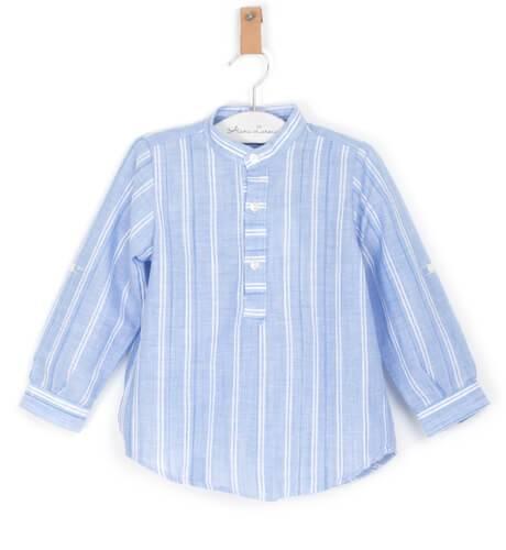 Camisa niño a rayas azul y blanco de Ancar | Aiana Larocca
