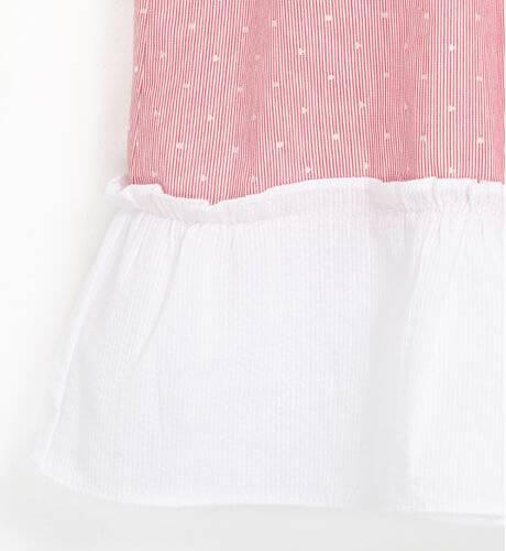 Vestido a rayas finas rojo con topitos blanco y lazo espalda de Dadati | Aiana Larocca