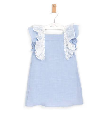 Vestido niña azul volantes blanco de Dadati | Aiana Larocca