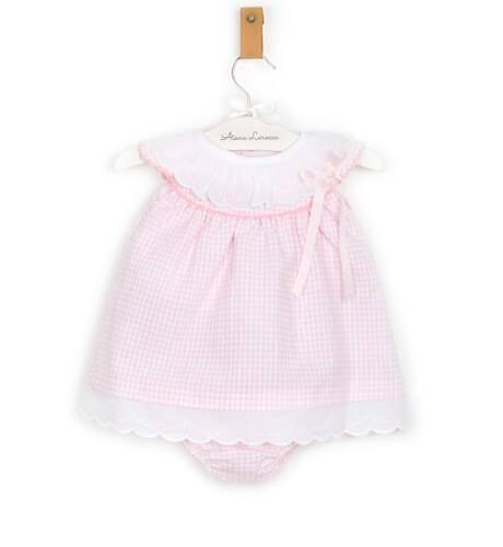 Jesusito bebe cuadros vichy rosa de Valentina Bebés | Aiana Larocca