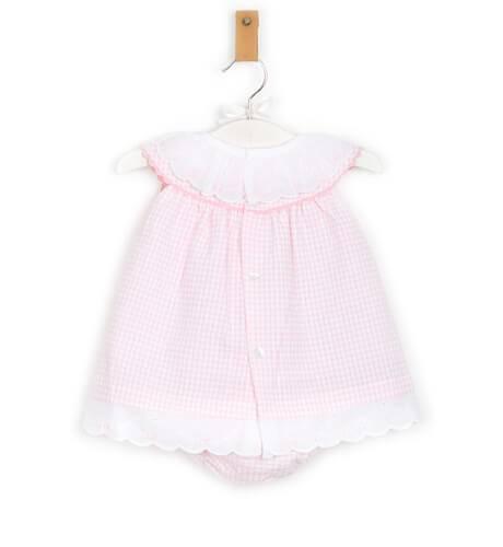 Jesusito bebe cuadros vichy rosa de Valentina Bebés   Aiana Larocca