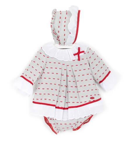 Jesusito bebe plumeti gris con rojo de Dolce Petit | Aiana Larocca