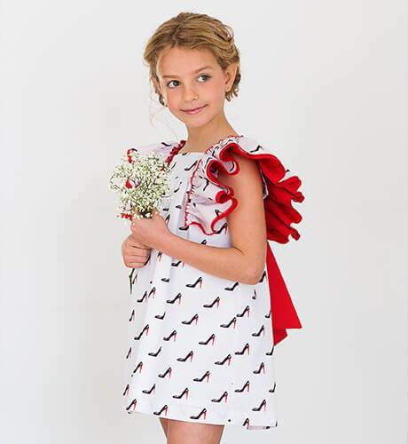 Vestido niña tacones lazada roja de Baby Yiro | Aiana Larocca