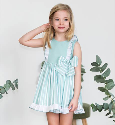 Vestido niña a rayas verde y blanco de Yoedu | Aiana Larocca