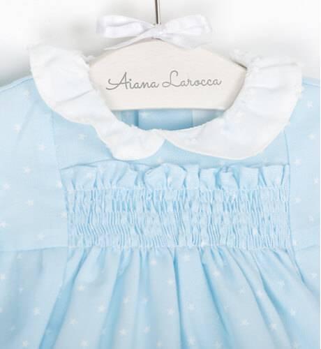 Ranita azul topitos cuello blanco | Aiana Larocca