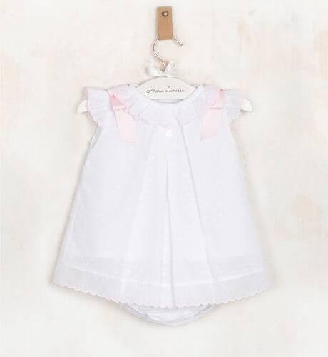 Jesusito plumeti blanco lazos rosa de Valentina Bebés | Aiana Larocca