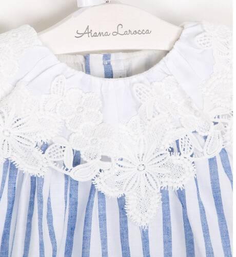 Vestido niña a rayas cuello bordado de Fina Ejerique | Aiana Larocca