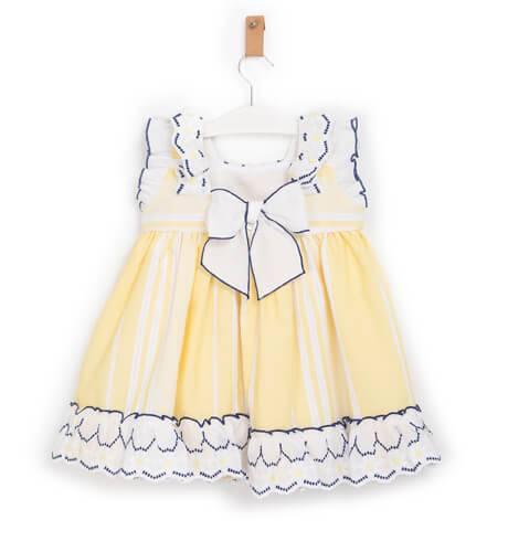 Vestido niña amarillo combinado con marino de Dolce Petit | Aiana Larocca