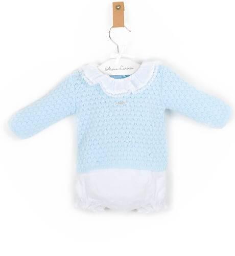 Conjunto bebé con bolsita regalo azul de Foque | Aiana Larocca