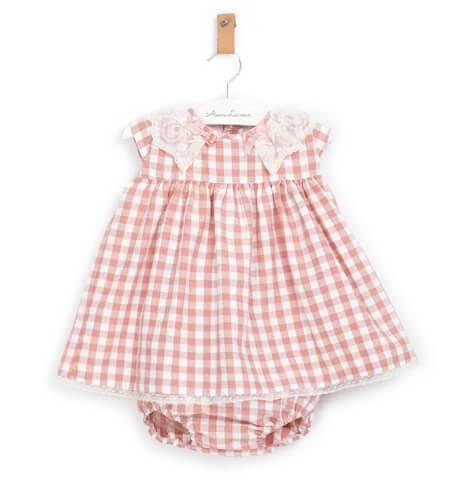 Jesusito a cuadros rosa y blanco de Valentina bebés | Aiana Larocca