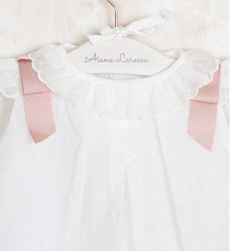 13df3ffe1 Jesusito plumeti crudo lazos rosa empolvado de Valentina Bebés ...