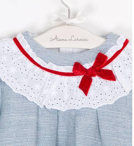 Vestido niña detalle puntilla cuello y puños de Dolce Petit   Aiana Larocca