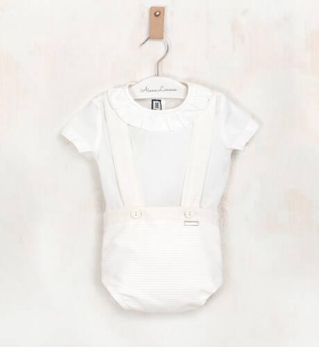 Conjunto bebé pantalón tirantes y camisa crudo de Nekenia | Aiana Larocca