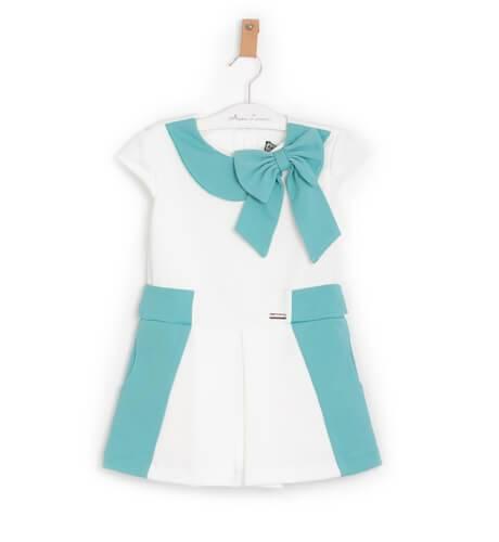 Vestido punto blanco combinado verde de Nekenia   Aiana Larocca