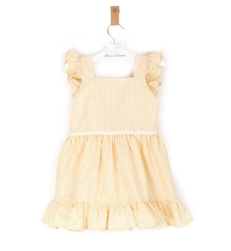 Vestido niña rayas amarillas lazada marino | Aiana Larocca
