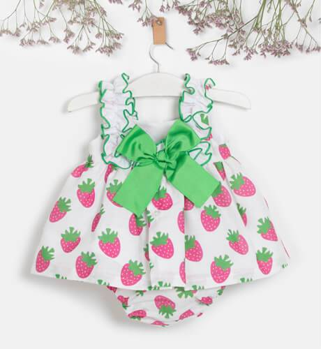 Jesusito niña estampado fresas de Mon Petit Bonbon | Aiana Larocca