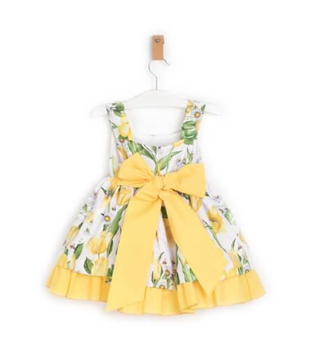 Vestido niña estampado amarillo de Blanca Valiente | Aiana Larocca