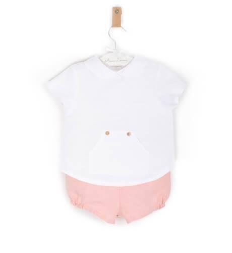 Conjunto bebé camisa y bombacho rosa de Valentina Bebes | Aiana Larocca