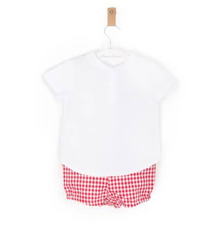 Conjunto camisa y bombacho vichy rojo de Valentina Bebes   Aiana Larocca