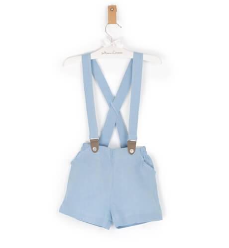 Pantalón tirantes niño lino azul empolvado | Aiana Larocca