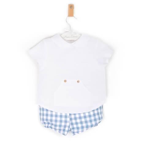 Conjunto camisa y bombacho vichy azul de Valentina Bebes | Aiana Larocca