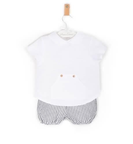 Conjunto bebé camisa y bombacho rayas grises de Valentina Bebes | Aiana Larocca