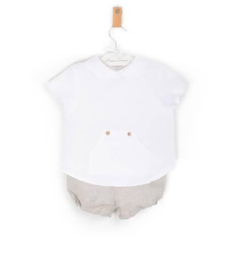 Conjunto camisa y bombacho arena de Valentina Bebes   Aiana Larocca