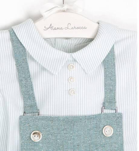 Conjunto bebe de peto con camisa | Aiana Larocca