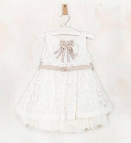 Vestido niña bordado crudo con lazo de Nekenia | Aiana Larocca