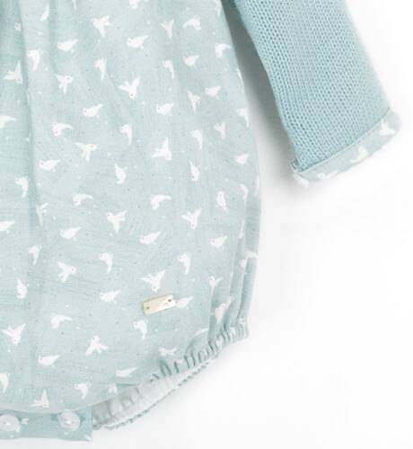 Ranita verde estampado pajaritos combinada con punto | Aiana Larocca