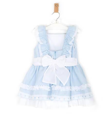 Vestido azul volantes detalle lazos de Dolce Petit   Aiana Larocca