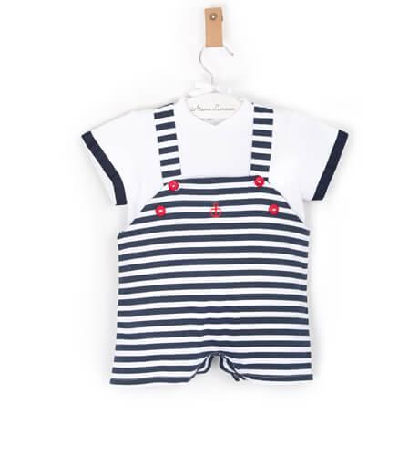 Peto marinero con camiseta de Valentina Bebes   Aiana Larocca