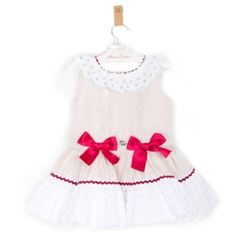 Vestido niña beige lazos rojos de Dolce Petit   Aiana Larocca