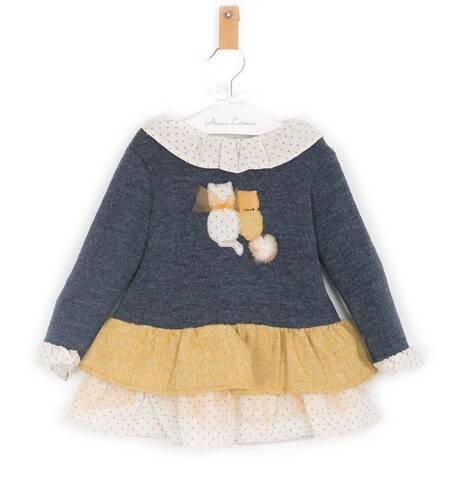 Vestido bebé combinado punto azul con mostaza de Coco Acqua | Aiana Larocca