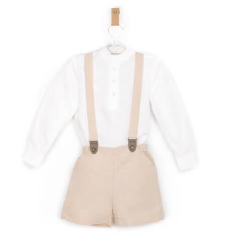 Pantalón tirantes niño lino avellana | Aiana Larocca