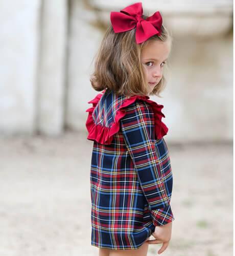 Vestido niña cuadros escocés de Marta y Paula | Aiana Larocca