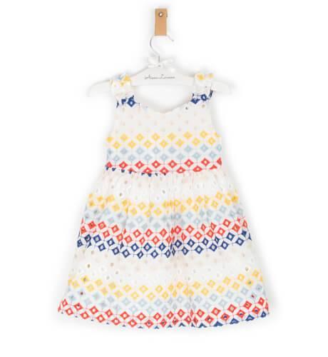 Vestido niña perforado escote de Rochy | Aiana Larocca